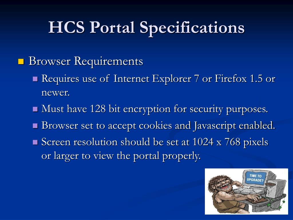 HCS Portal Specifications
