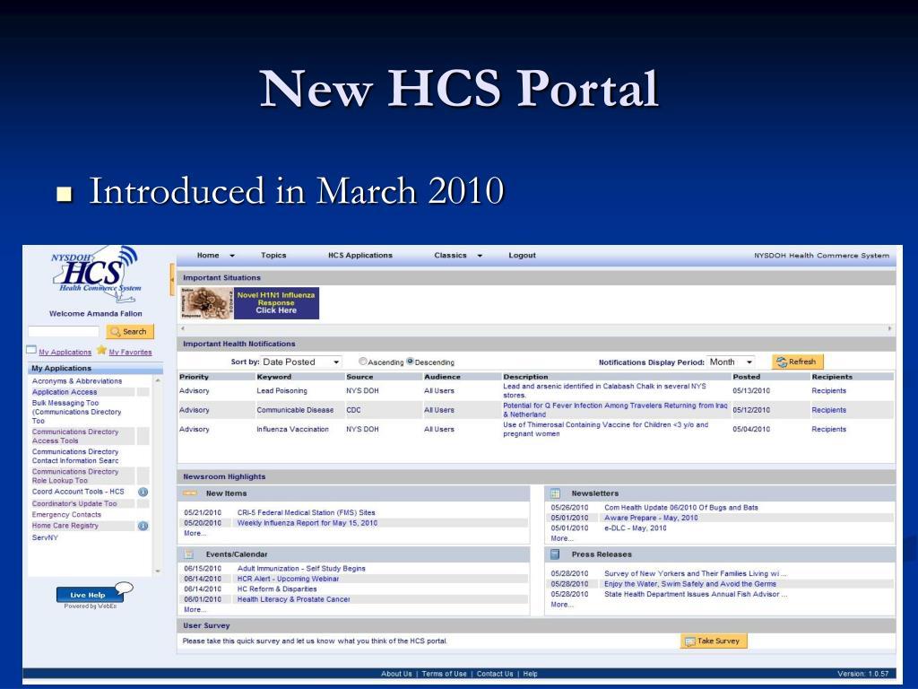 New HCS Portal