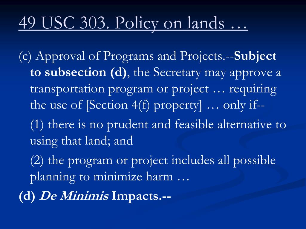 49 usc 303 policy on lands