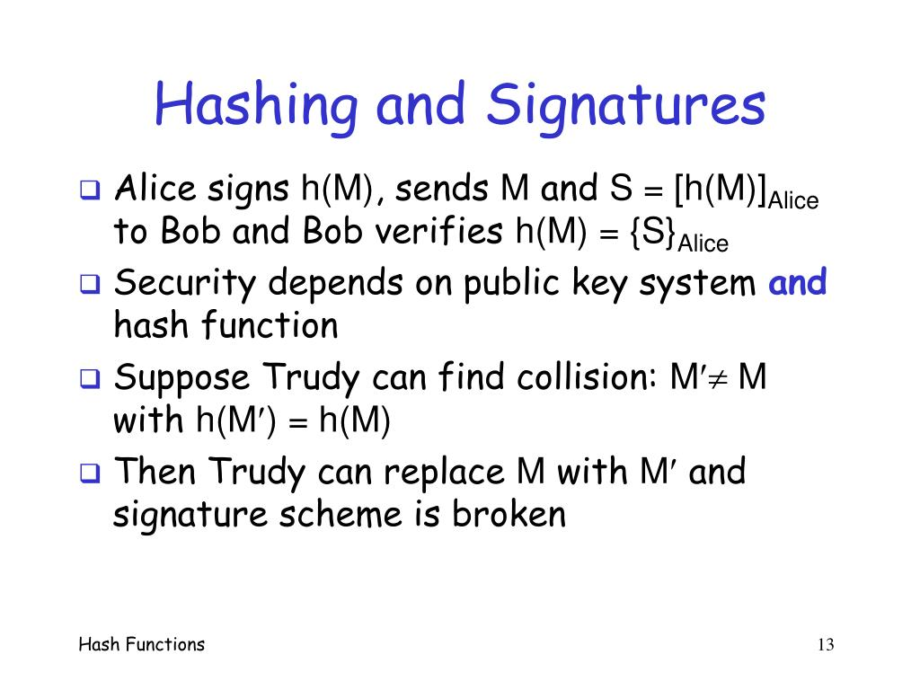 Hashing and Signatures