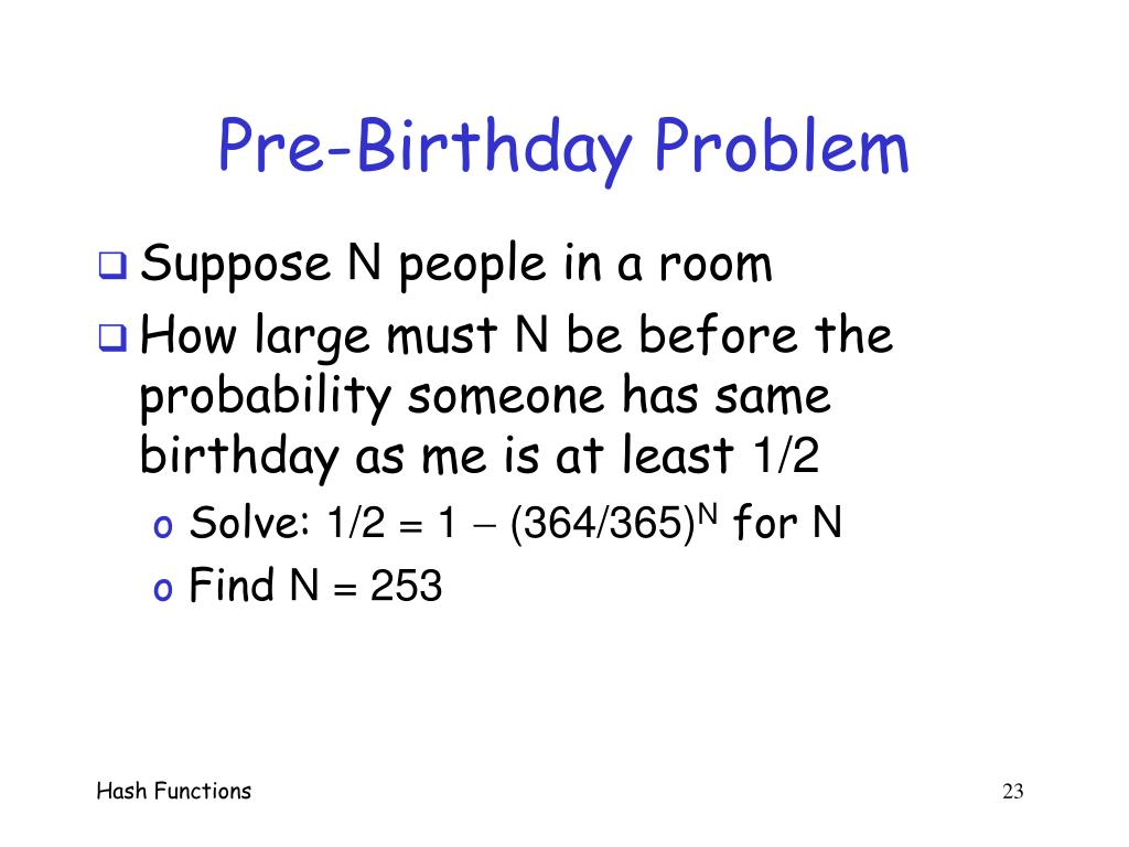 Pre-Birthday Problem