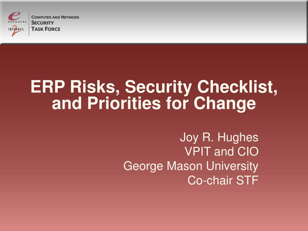 ERP Risks, Security Checklist, and Priorities for Change