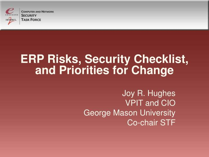 Erp risks security checklist and priorities for change