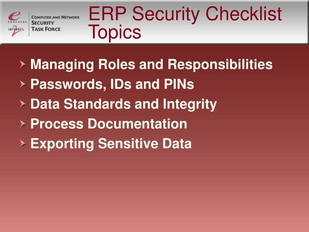 ERP Security Checklist Topics