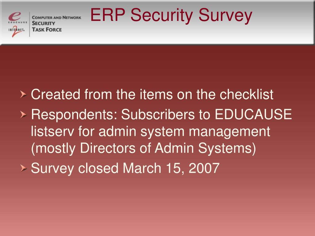ERP Security Survey