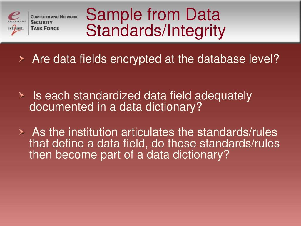 Sample from Data Standards/Integrity