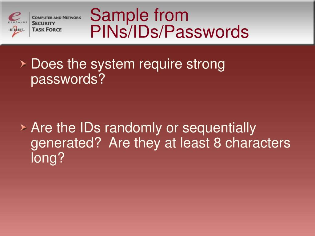 Sample from PINs/IDs/Passwords