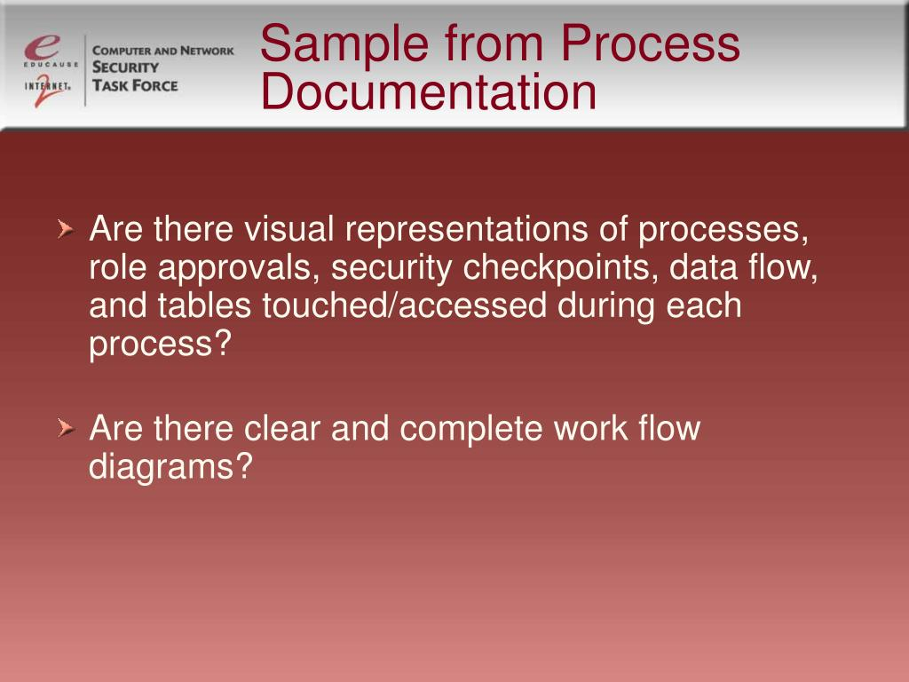 Sample from Process Documentation
