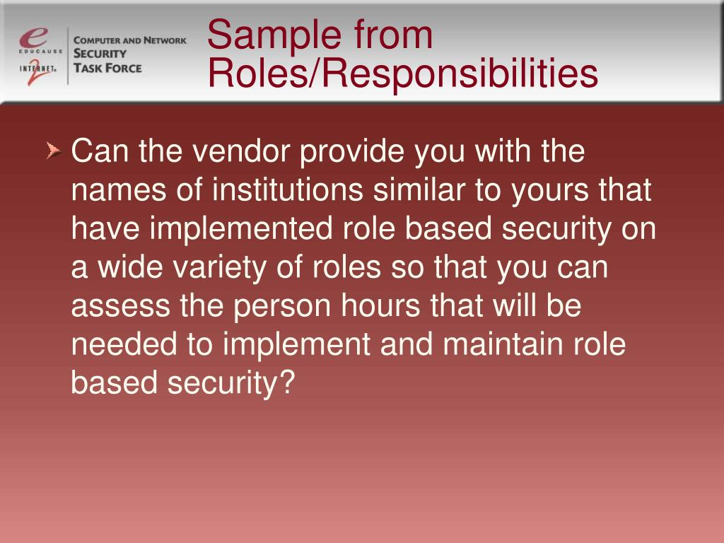 Sample from Roles/Responsibilities