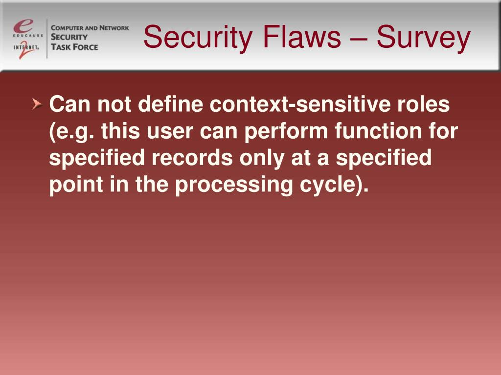 Security Flaws – Survey