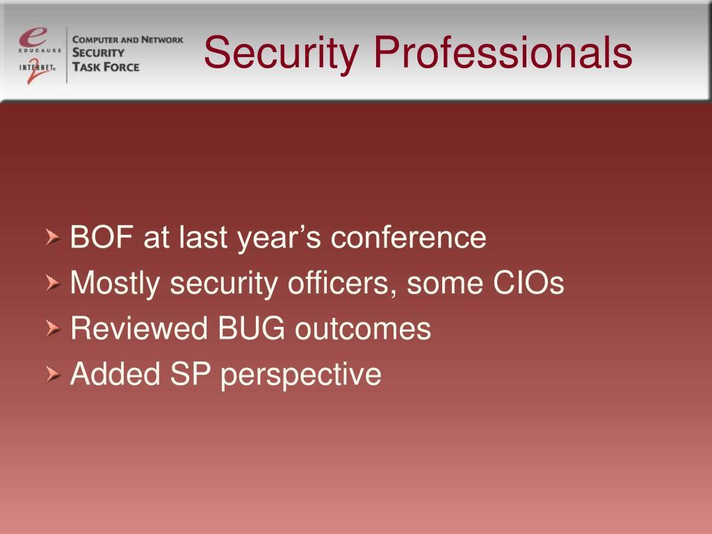 Security Professionals