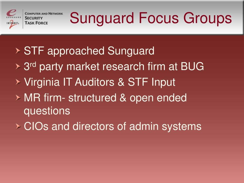 Sunguard Focus Groups