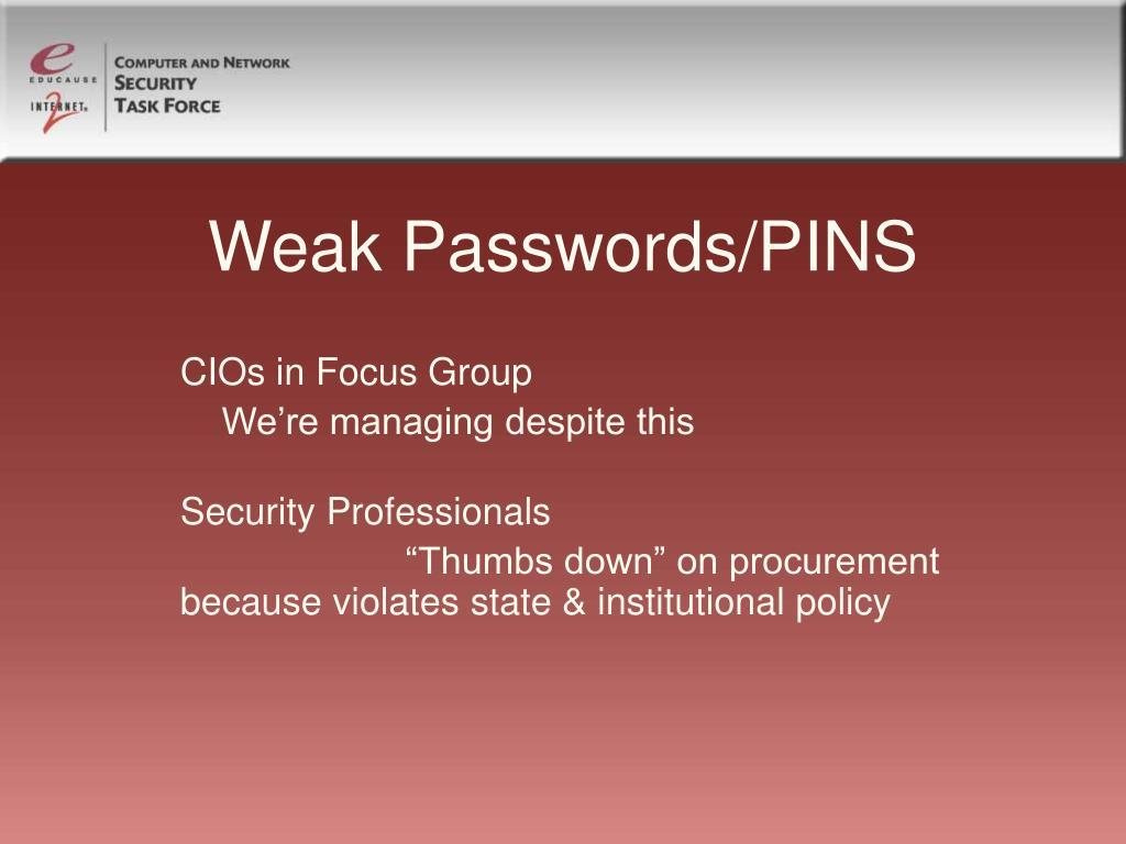 Weak Passwords/PINS