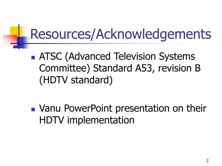 Resources acknowledgements
