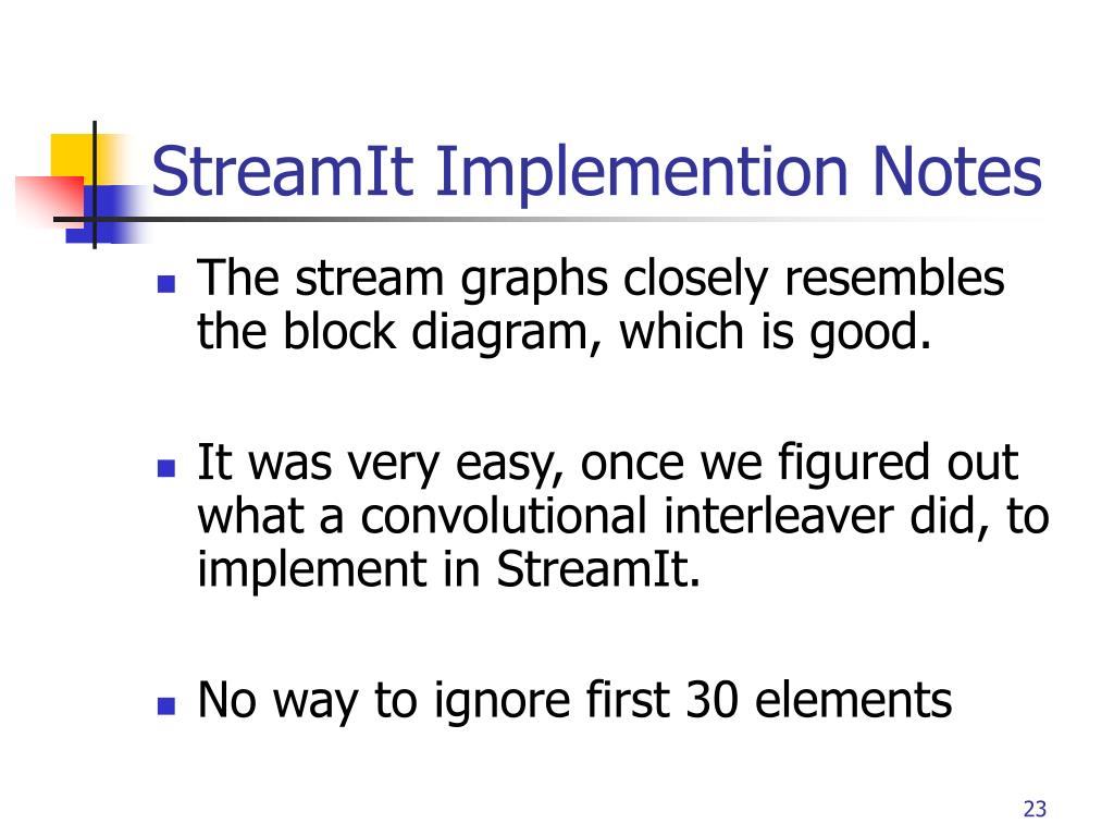 StreamIt Implemention Notes