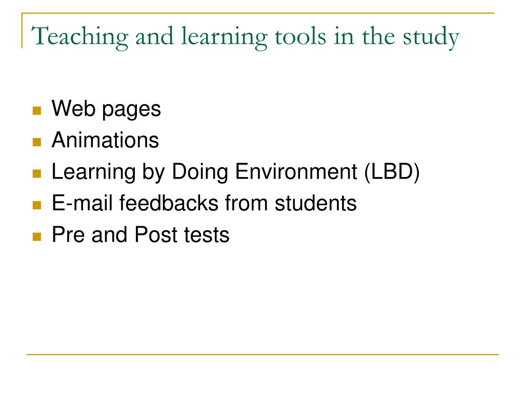 Teaching and learning tools