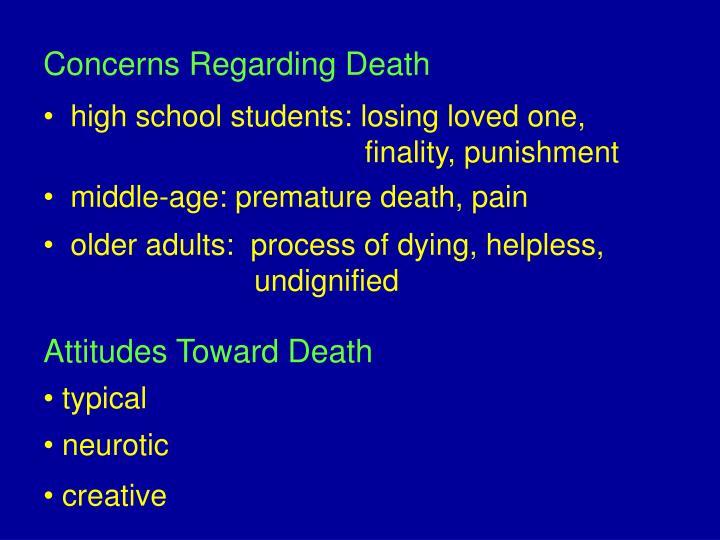 Concerns regarding death