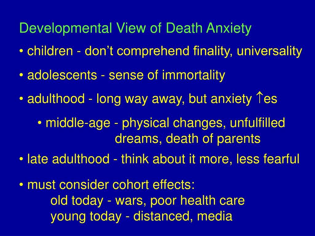 Developmental View of Death Anxiety