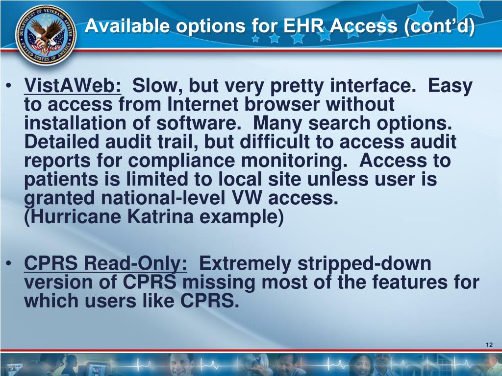 Available options for EHR Access (cont'd)