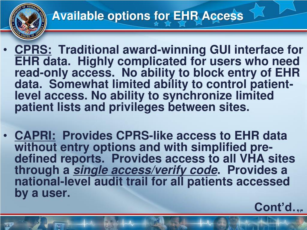 Available options for EHR Access