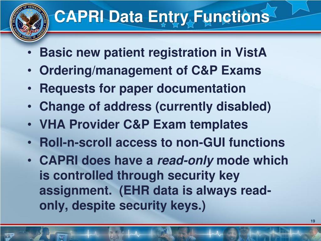 CAPRI Data Entry Functions
