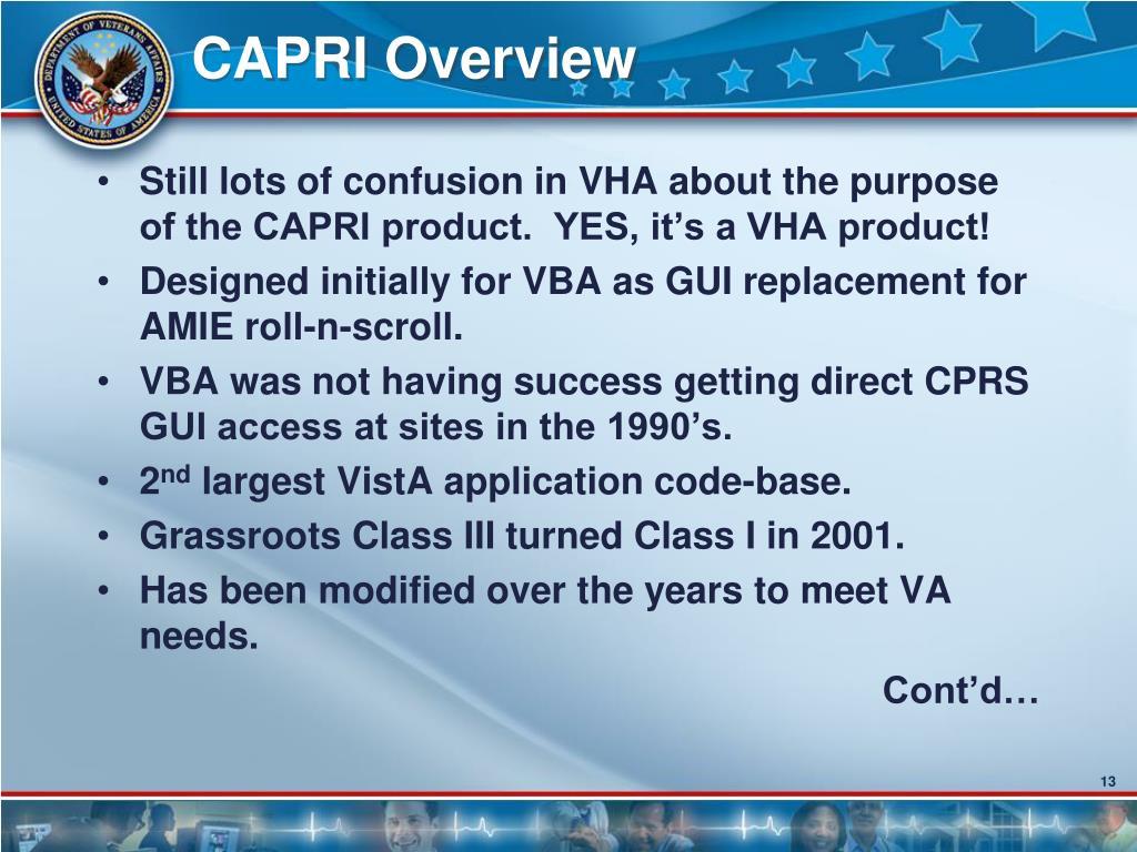 CAPRI Overview