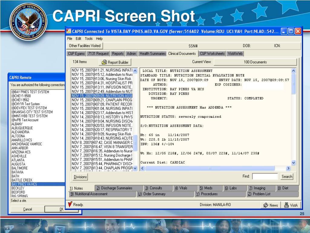 CAPRI Screen Shot