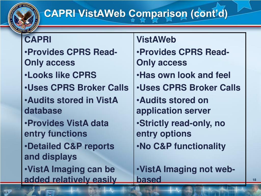 CAPRI VistAWeb Comparison (cont'd)