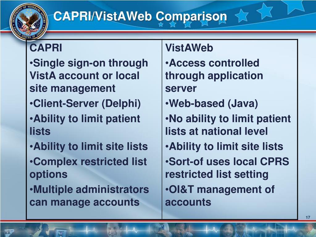 CAPRI/VistAWeb Comparison