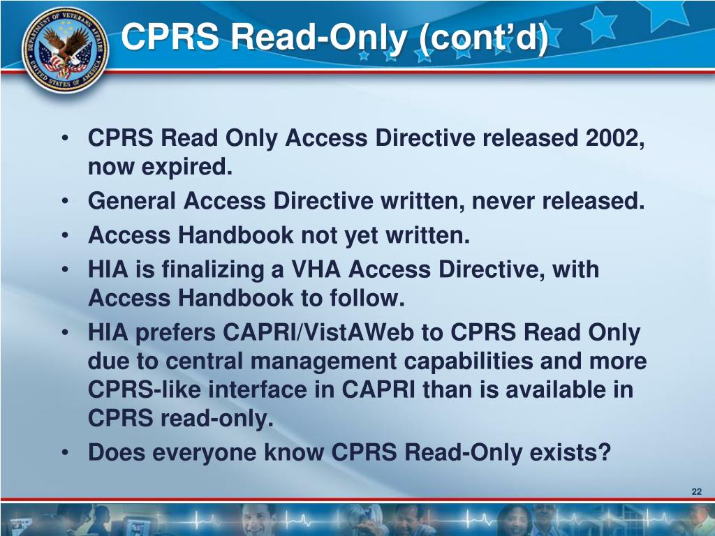 CPRS Read-Only (cont'd)