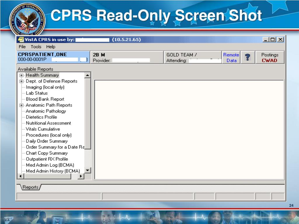 CPRS Read-Only Screen Shot