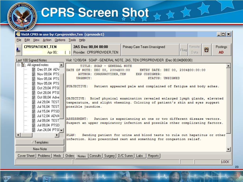 CPRS Screen Shot