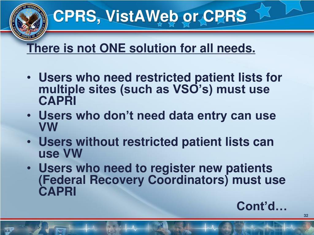 CPRS, VistAWeb or CPRS