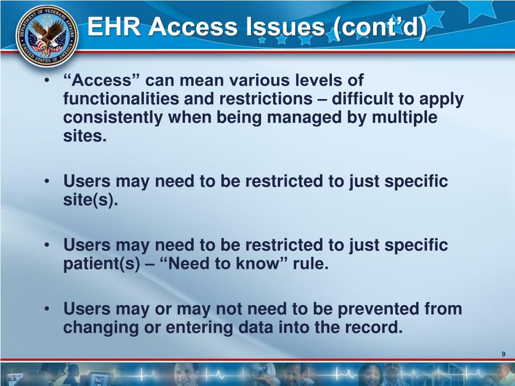 EHR Access Issues (cont'd)