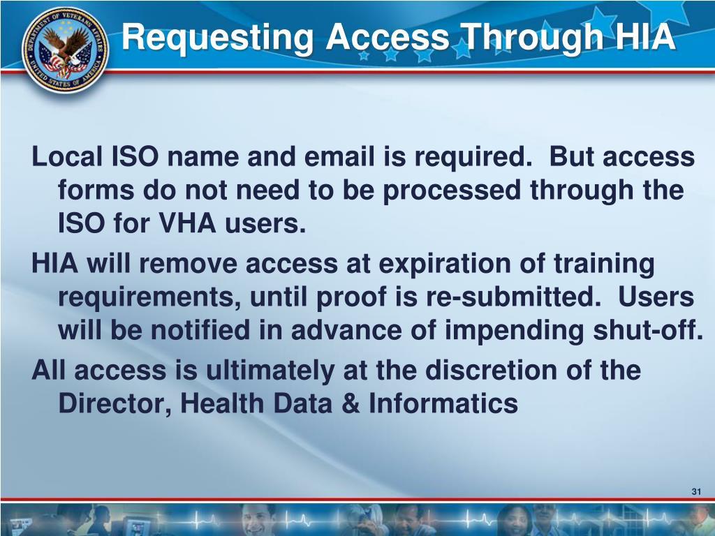 Requesting Access Through HIA