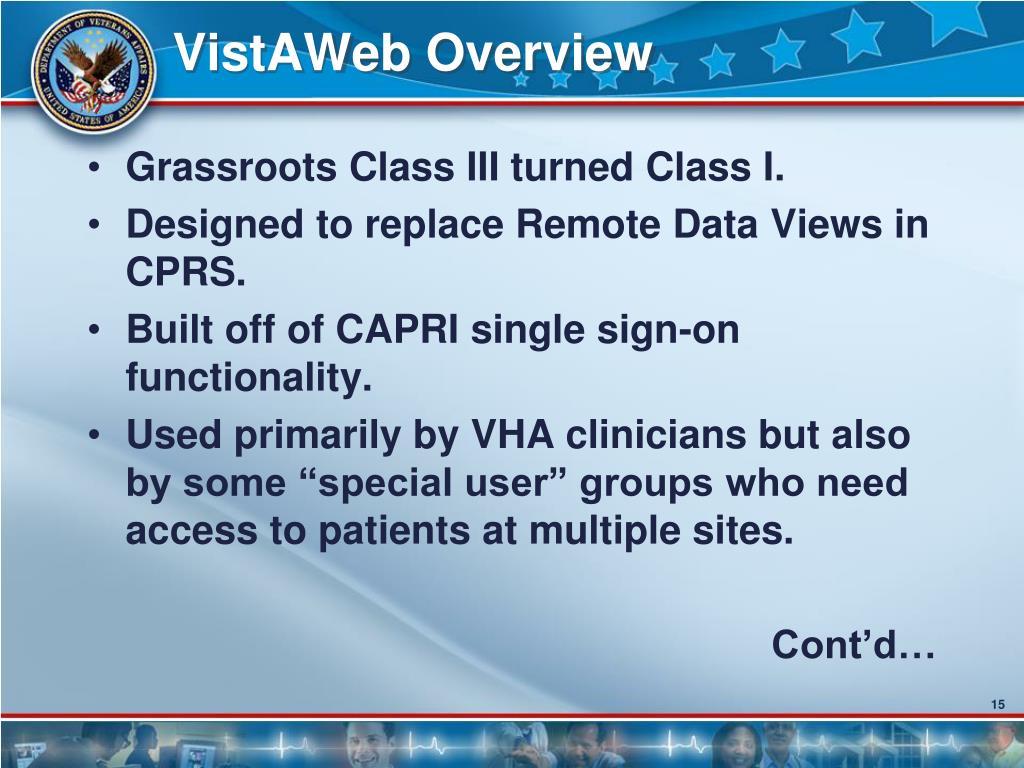 VistAWeb Overview