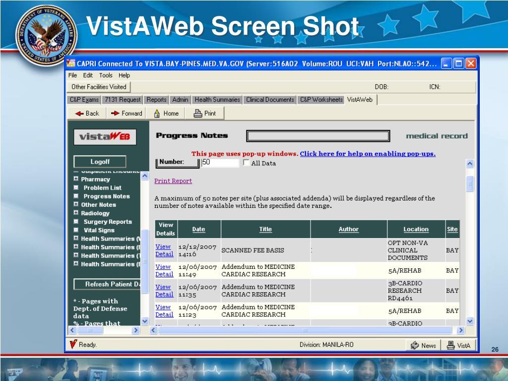 VistAWeb Screen Shot