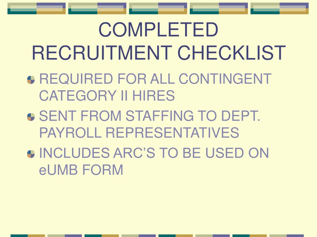 COMPLETED RECRUITMENT CHECKLIST