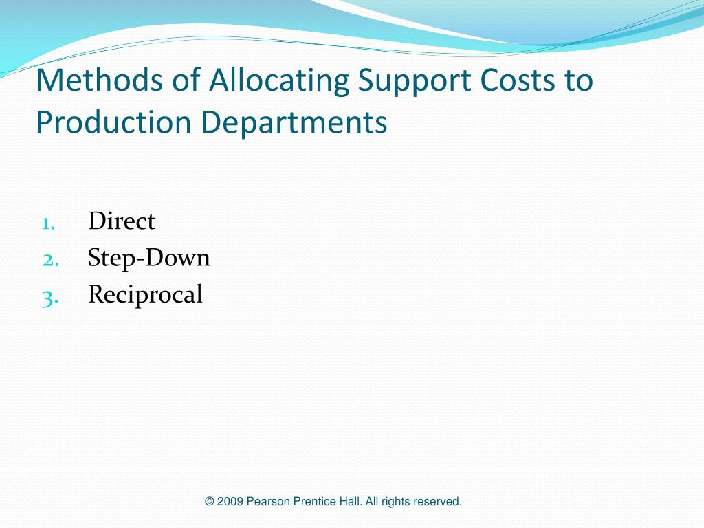 Methods of Allocating Support Costs to Production Departments