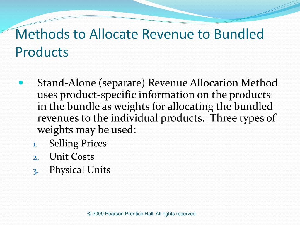 Methods to Allocate Revenue to Bundled Products