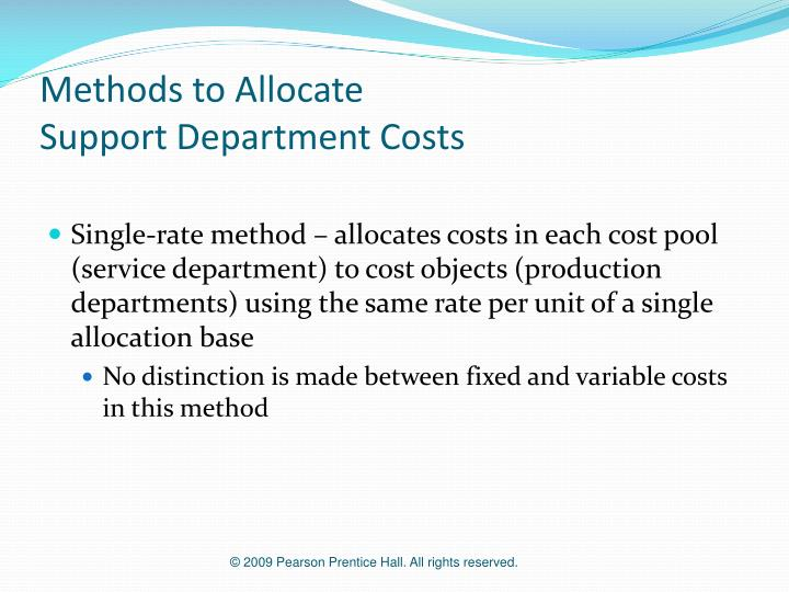 Methods to allocate support department costs