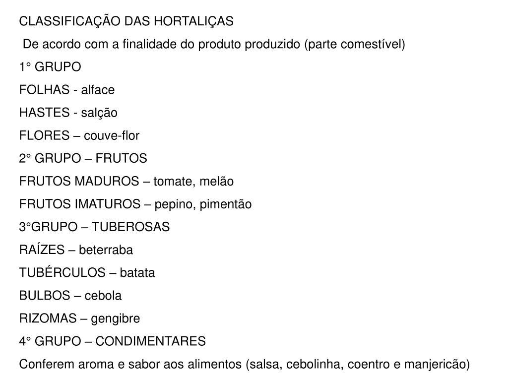 CLASSIFICAÇÃO DAS HORTALIÇAS