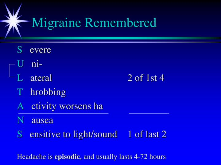 Migraine remembered