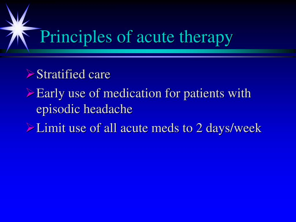 Principles of acute therapy