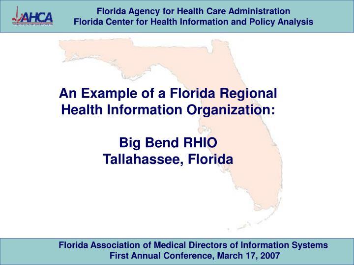 An Example of a Florida Regional Health Information Organization: