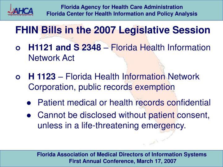 FHIN Bills in the 2007 Legislative Session