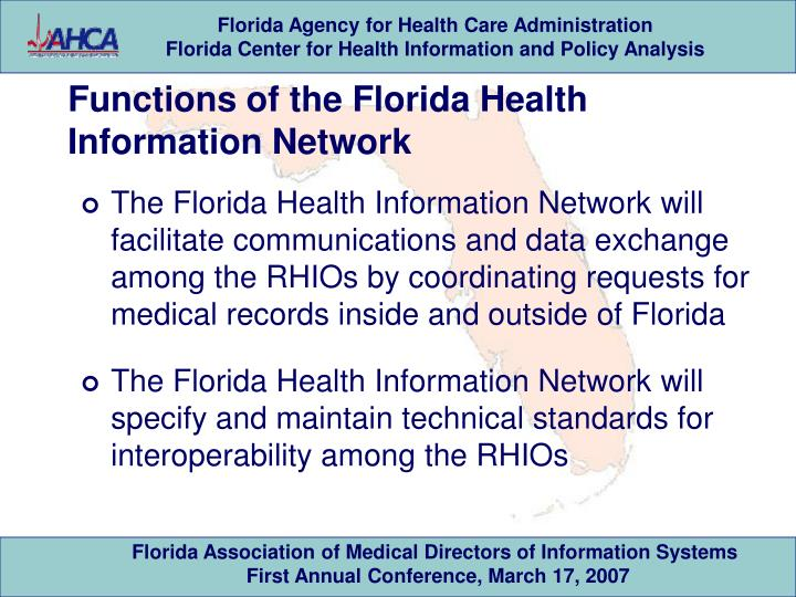 Functions of the Florida Health Information Network