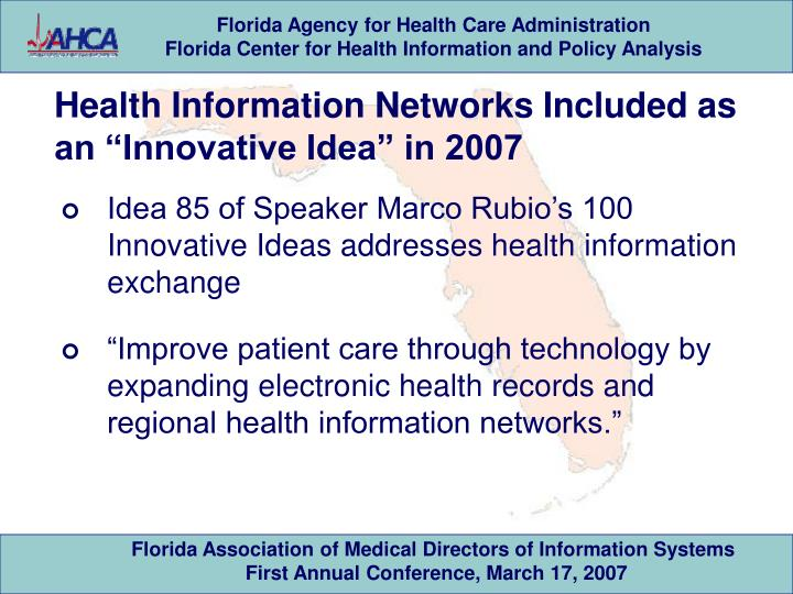 """Health Information Networks Included as an """"Innovative Idea"""" in 2007"""