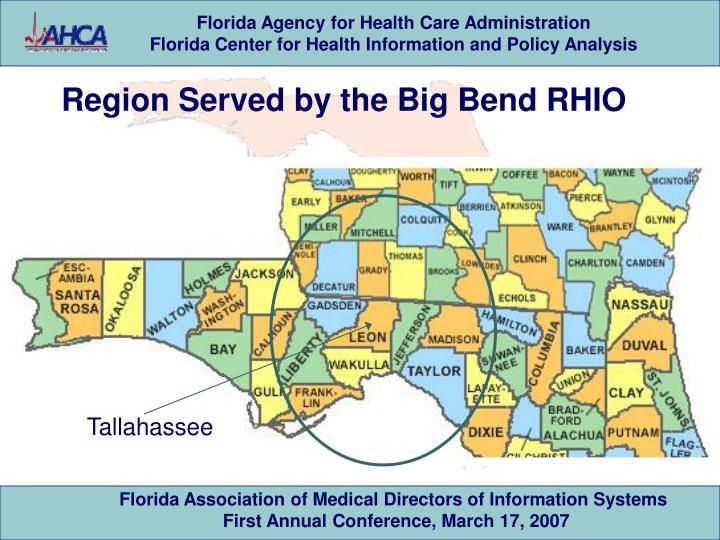 Region Served by the Big Bend RHIO