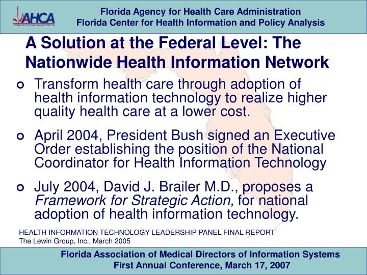 A Solution at the Federal Level: The Nationwide Health Information Network